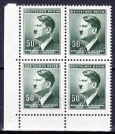 Boheme Et Moravie 1942 Mi  92 (Yv 80), (MNH)** Bloc De 4 - Coin De Feuille - Bohemia & Moravia
