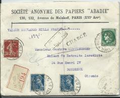 FRANCE - Lettre CHARGE Au Départ De LE THEIL SUR HUISNE -pour La Maison De Retraite ISRAELITE Entête PAPIERS ABADIE 1940 - Postmark Collection (Covers)