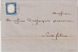 "SARDAIGNE : N° 12 . OBL . "" SEYSSEL SAVOIE "" . FAIBLE . POUR ST JULIEN . 1857 . ( CATALOGUE YVERT ) . - Sardegna"