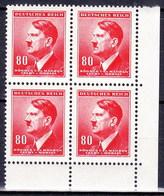 Boheme Et Moravie 1942 Mi  94 (Yv 82), (MNH)** Bloc De 4 - Coin De Feuille - Ungebraucht