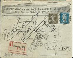 FRANCE - LETTRE RECOMMANDEE  Entête PAPIERS ABADIE 1940 Retour à L'envoyeur - Marcophilie (Lettres)