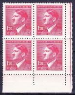Boheme Et Moravie 1942 Mi  96 (Yv 84), (MNH)** Bloc De 4 - Coin De Feuille - Ungebraucht