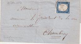 """SARDAIGNE : N° 12 . OBL . """" TURIN """" .  POUR CHAMBERY . 1857 . ( CATALOGUE YVERT ) . - Sardegna"""