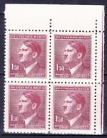 Boheme Et Moravie 1942 Mi  97 (Yv 85), (MNH)** Bloc De 4 - Coin De Feuille - Neufs