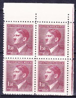 Boheme Et Moravie 1942 Mi  97 (Yv 85), (MNH)** Bloc De 4 - Coin De Feuille - Bohemia & Moravia