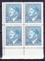 Boheme Et Moravie 1942 Mi  99 (Yv 87), (MNH)** Bloc De 4 - Coin De Feuille - Bohemia & Moravia