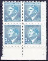 Boheme Et Moravie 1942 Mi  99 (Yv 87), (MNH)** Bloc De 4 - Coin De Feuille - Neufs