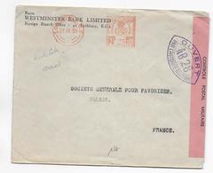 1939 - ENVELOPPE Avec EMA De La WESTMINSTER BANK De LONDON Avec CENSURE AB28 VIOLETTE De ARRAS => CALAIS - SUP - Guerra De 1939-45