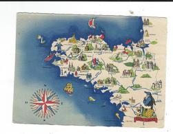 Carte Geographique Bretagne Illustrateur Barre Dayez écrite 1944 - Bretagne