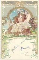 Cpa Art Nouveau, Portrait De Femme, Nénuphars - Künstlerkarten