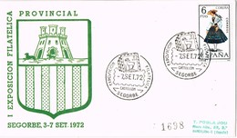 35888. Carta Certificada SEGORBE (Castellon) 1972. I Exposicion Filatelica. Fauna - 1931-Hoy: 2ª República - ... Juan Carlos I