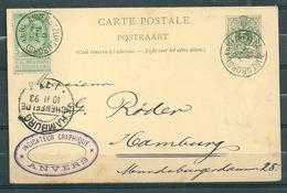 Nr 45 En Nr 56 Op Postkaart Van Anvers (Zurenborg) Naar Hamburg - 08 Nov 1893 - 1869-1888 Lion Couché (Liegender Löwe)
