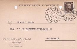 STORIA POSTALE - REGNO - PONTEBBA ( UDINE) COMPTOIR EXPRESS TRASPORTI INTERNAZIONALI - VIAGGIATA PER GALLARATE ( VARESE) - Storia Postale