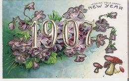 VIOLETTES - CHAMPIGNONS. CPA Gaufrée Et Pailletée Voyagée Wishing You A Happy New Year Année 1907 - Fleurs