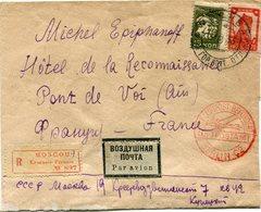 "RUSSIE LETTRE RECOMMANDEE PAR AVION AVEC CACHET ROUGE ILLUSTRE ""...LUFTPOST BEFORDERT LUFTPOSTAMT BERLIN C2 "" - 1923-1991 UdSSR"