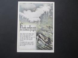 3. Reich / Böhmen Und Mähren 1940 Propaganda AK Uboote Im Angriff Auf England! Matrosenlied Wie Fahren Gegen Engeland - Briefe U. Dokumente