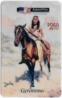 USA - AmeriVox - Perillo Native American Artwork - AVX-Pr152 - Geronimo On Horse #5, Remote Mem. 2.50$, 5.000ex, Mint - Stati Uniti