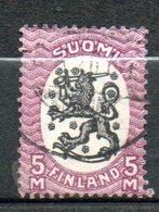 FINLANDE  5m Lilas Noir 1918-21 N°80 - Oblitérés