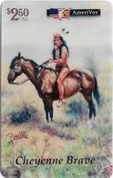 USA - AmeriVox - Perillo Native American Artwork - AVX-Pr593 - Cheyenne Brave #17, Remote Mem. 2.50$, 5.000ex, Mint - Stati Uniti