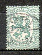 FINLANDE  40p Vert 1921-26 N°102 - Oblitérés