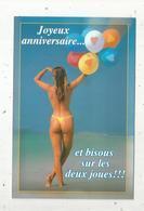Cp , Femme,joyeux Anniversaire Et Bisous Sur Les Deux Joues!!! ,plage ,maillot De Bain , 12 X 18, Vierge Frais Fr 1.55 E - Mujeres