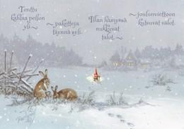 Brownie - Gnome - Elf Walking In Snow - Rabbits - Hares - Raimo Partanen - Christmas