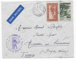1941 - ENVELOPPE L'ECOLE De PILOTAGE Et De La BASE AERIENNE De FES (MAROC) Par AVION => FRANCE - Marcophilie (Lettres)