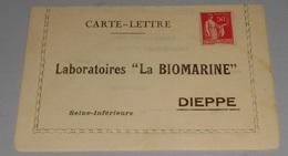 """76 - Carte Lettre Laboratoires """" La Biomarine """" - Dieppe ::::: Medecine - Pharmacologique --------- 519 - Santé"""