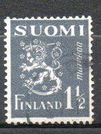 FINLANDE  1m 1/2 Gris Foncé 1940 N° 222 - Oblitérés