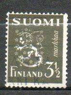 FINLANDE  3m1/2 Brun Olive 1942 N° 259 - Oblitérés