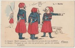 Cpa Zouaves Illustrateur Assus La Sortie - Reggimenti