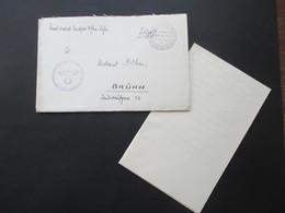 Handschriftlich Und Stempel Deutsche Dienstpost Böhmen Und Mähren Pilsen (Ostkaserne) Nach Brünn Mit Inhalt! - Briefe U. Dokumente