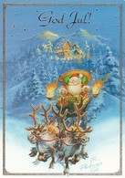 Santa Claus Driving Reindeer On Sled - Raimo Partanen - NEW - Christmas