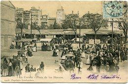 ESPAGNE CARTE POSTALE -LA CORUNA -PLAZA DE LOS HUEVOS AVEC AFFR. TYPE BLANC DE FRANCE OBL. 1904 - Brieven En Documenten