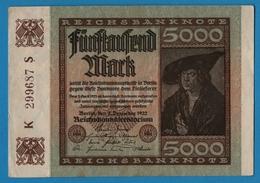 DEUTSCHES REICH 5000 Mark 02.12.1922# K299687 P# 81a - 5000 Mark
