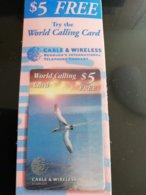 BERMUDA  $5  FREE Calling Card  Withe Tern Bird MINT CONDITION  New  Logo C&W **1281** - Bermuda