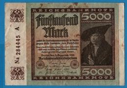 DEUTSCHES REICH 5000 Mark 02.12.1922# Na284445  P# 81b - 5000 Mark