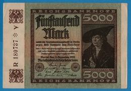 DEUTSCHES REICH 5000 Mark 02.12.1922# R180737Y  P# 81a - [ 3] 1918-1933 : Weimar Republic