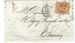 FRANCE 1862: LAC D' Annecy Du 10-4-67 Pour Thonon Avec Le Y&T23a Et Obl. GC110 (Ind.2) - 1862 Napoléon III