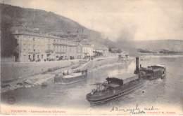 PENICHES Barge - PENICHE à VAPEUR à TOURNON ( Belgique ) à L'embarcadère Du Gladiateur - CPA - Lastkähne Aken - Arken
