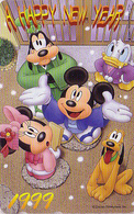 TC JAPON / 110-203010 - DISNEY N° 5 - NOUVEL AN NEW YEAR 1999 - MICKEY MINNIE DONALD Chien Dog - JAPAN Phonecard - Disney