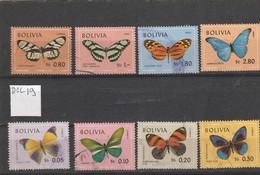 TIMBRES BOLIVIE  8 VAL  OB   PAPILLIONS - Bolivia