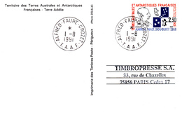 Entier Postal Amiral MAX DOUGUET Avec Oblitération   ALFRED FAURE CROZET Du 1er Août 1991 - TAAF : Territorios Australes Franceses