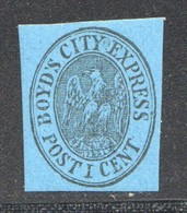 Boyd's City Express, New York  1 Cent Black On Blue, Full Original Gum  Scott 20L25 ** - 1845-47 Emissioni Provinciali