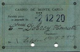 Casino De MONACO - Ticket D'entrée De La Comtesse Henriette D'Arcy, 2-12-1920 - Tickets D'entrée