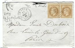 FRANCE 1867: LSC De Le Lude (Sarthe) Du 17-11-67 Pour Paris Avec 1 Paire Du Y&T28A Et Obl. GC965 (Ind.4) - 1863-1870 Napoleone III Con Gli Allori