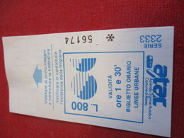 BUS/ 1  Ticket Ancien Usagé/ATAC /Azienda Tranvie Autobus Comune Di ROMA/ ROME/Octobre 1991           TCK137 - Bus