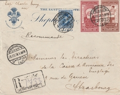 Egypte Lettre Recommandée Pour La France 1928 - Égypte