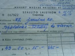 ZA271.7  Hungary  Ferry Group Ticket - Balatonföldvár- Tihany  1987 - 43 Person - Bateau - Ship Schiff -Balaton MAHART - Billets D'embarquement De Bateau