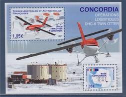 = Bloc 2 Timbres Neufs Terres Australes Base Concordia Opérations Logistiques DHC.6 TWIN OTTER - Blocs-feuillets